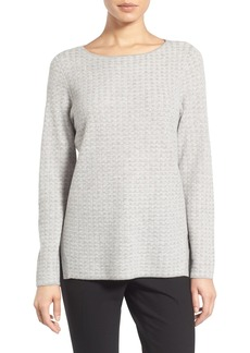Nordstrom Collection Bateau Neck Texture Knit Cashmere Sweater