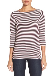 Nordstrom Collection Boat Neck Stripe Stretch Modal Top