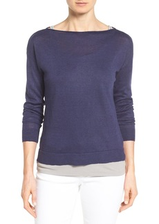 Nordstrom Collection Boatneck Linen Knit Top