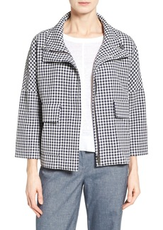 Nordstrom Collection Check Funnel Neck Swing Jacket