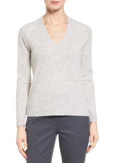 Nordstrom Collection Contrast Seam Cashmere Pullover
