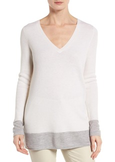 Nordstrom Collection Contrast Trim Cashmere Pullover