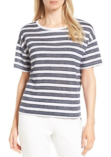 Nordstrom Collection Crewneck Stripe Linen Tee