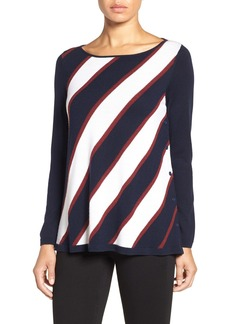 Nordstrom Collection Diagonal Stripe Side Button Merino Wool Pullover