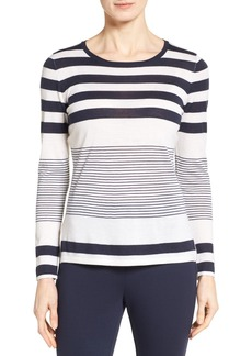Nordstrom Collection Engineered Stripe Cashmere Pullover