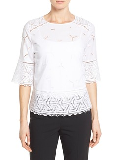 Nordstrom Collection Eyelet Lace Inset Cotton Top