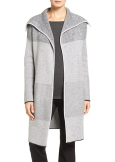 Nordstrom Collection Mixed Rib Cashmere Open Front Cardigan