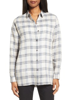 Nordstrom Collection Oversize Plaid Linen Shirt