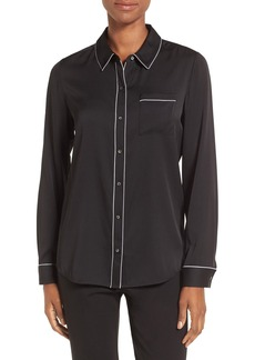 Nordstrom Collection Piped Stretch Silk Blouse