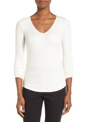 Nordstrom Collection Rib Knit V-Neck Top