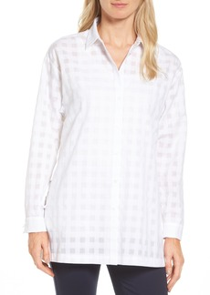 Nordstrom Collection Sheer Gingham Tunic Shirt