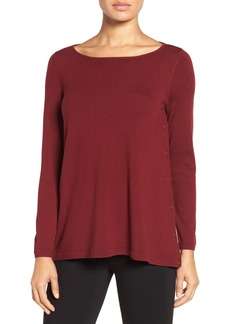 Nordstrom Collection Side Button Merino Wool Pullover