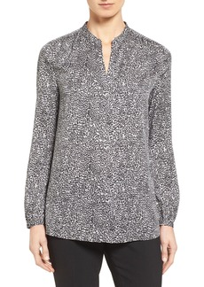 Nordstrom Collection Split Neck Print Stretch Silk Blouse