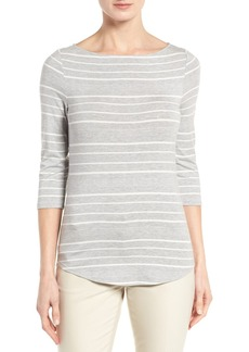 Nordstrom Collection Stripe Boat Neck Tee