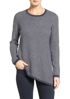 Nordstrom Collection Stripe Cashmere Asymmetrical Hem Pullover