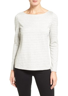Nordstrom Collection Stripe Knit Bateau Neck Tee