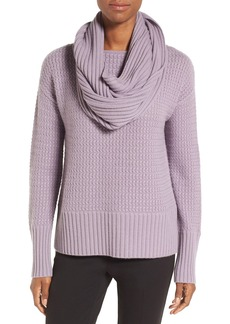 Nordstrom Collection Texture Knit Cashmere Pullover with Snood