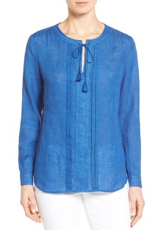 Nordstrom Collection Tie Neck Linen Blouse