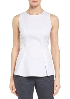 Nordstrom Collection Tonal Stripe Stretch Poplin Peplum Top