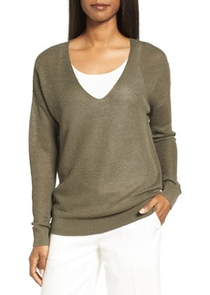 Nordstrom Collection V-Neck Linen Blend Sweater