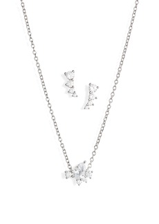 Nordstrom Cubic Zirconia Cluster Earrings & Necklace Set