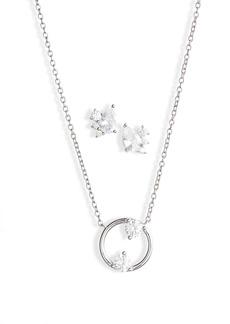 Nordstrom Cubic Zirconia Earrings & Open Circle Pendant Necklace Set