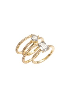 Nordstrom Cubic Zirconia Set of 4 Stacking Rings