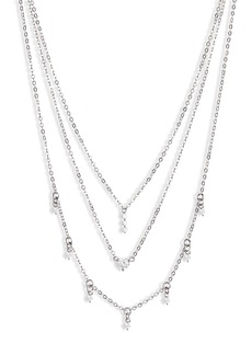 Nordstrom Delicate Three-Tier Cubic Zirconia Necklace
