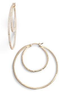 203d833bd Nordstrom Nordstrom 2-Row Cubic Zirconia Hoop Earrings   Jewelry