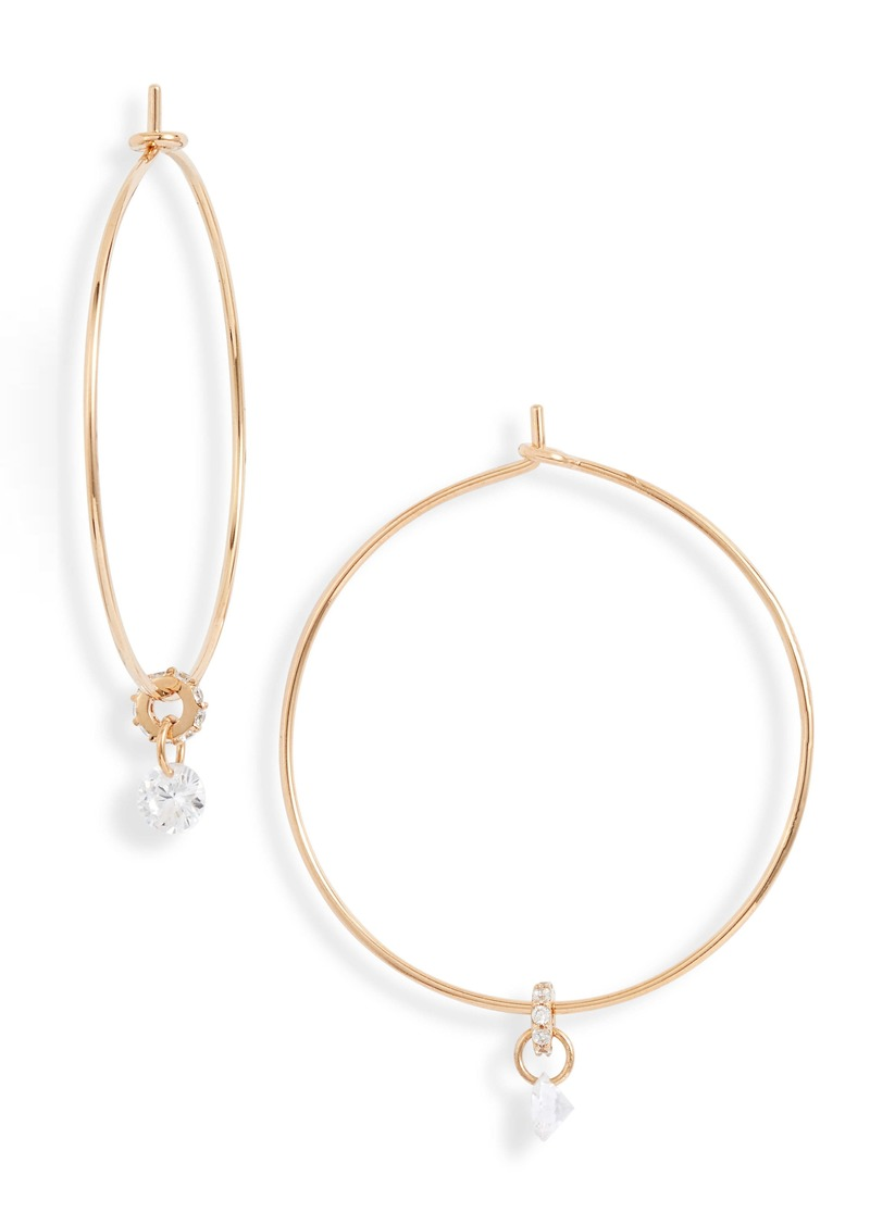 Nordstrom Floating Cubic Zirconia Hoop Earrings