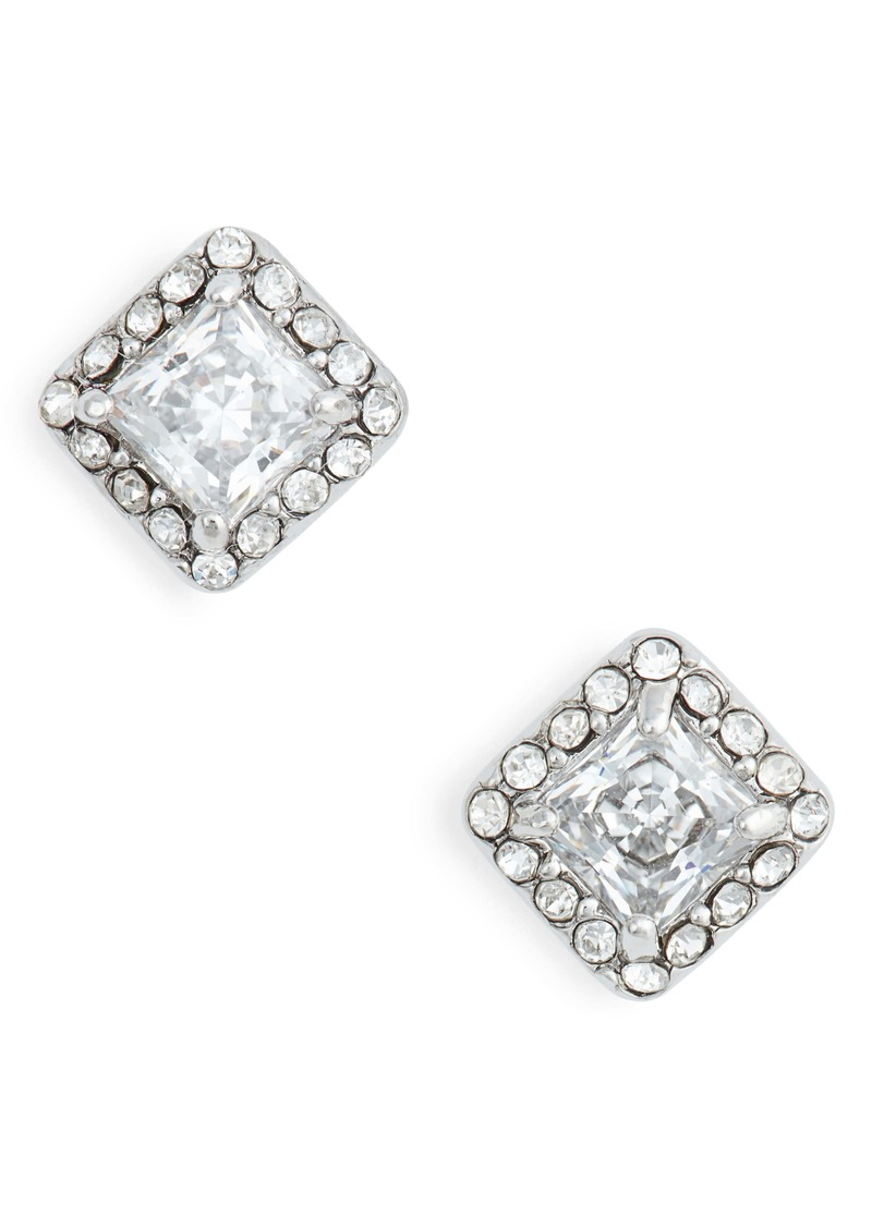 Nordstrom Halo Cubic Zirconia Square Stud Earrings