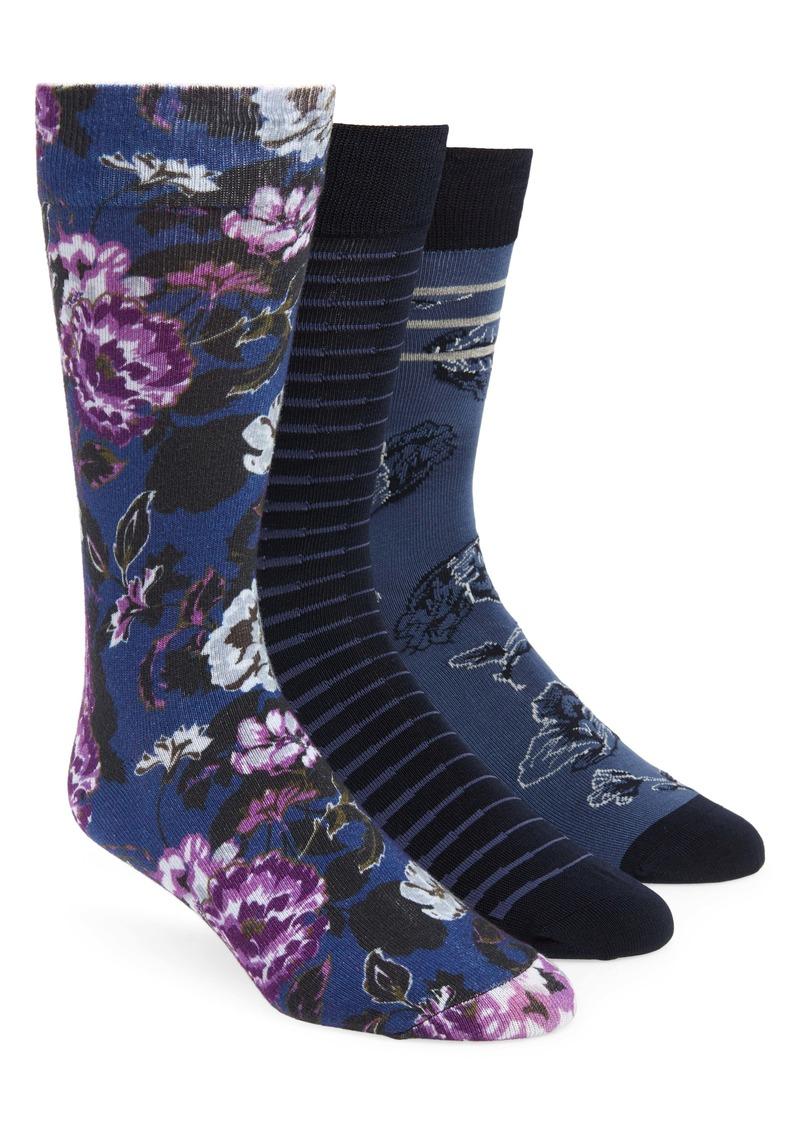 Nordstrom Men's Shop 3-Pack Glacial Floral Stripe Socks