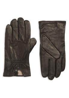 Nordstrom Men's Shop Cashmere Lined Perforated Deerskin Gloves