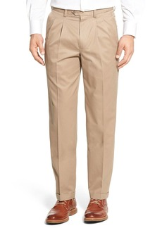Nordstrom Men's Shop Classic Smartcare™ Supima® Cotton Pleated Trousers