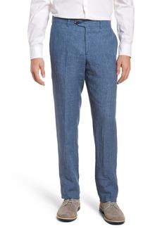 Nordstrom Men's Shop Flat Front Solid Linen Trousers