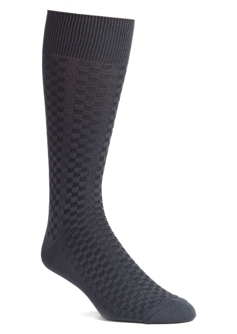 Nordstrom Men's Shop Mini Check Ultrasoft Dress Socks (Any 3 for $30)