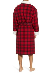 Nordstrom Men's Shop Plaid Fleece Robe with Faux Shearling Lining