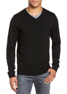Nordstrom Men's Shop Washable Merino Wool V-Neck Sweater