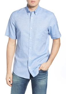 Nordstrom Men's Shop Regular Fit Non-Iron Dobby Short Sleeve Linen & Cotton Button-Down Shirt