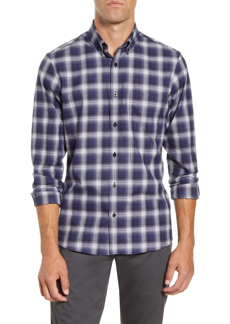 Nordstrom Men's Shop Trim Fit Ombré Plaid Button-Down Shirt