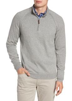 Nordstrom Men's Shop Saddle Shoulder Quarter Zip Cotton & Cashmere Pullover