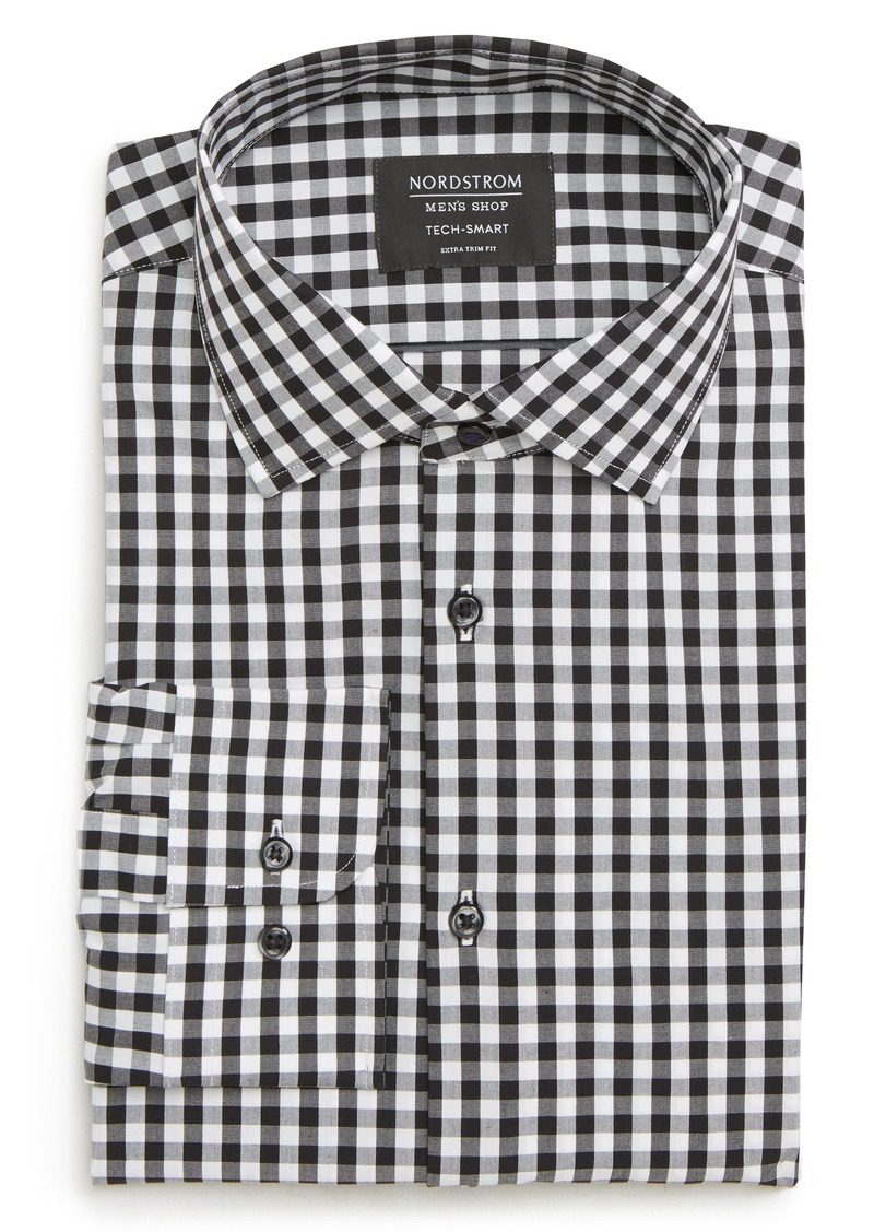 Nordstrom Men's Shop Tech-Smart Extra Trim Fit Stretch Check Dress Shirt