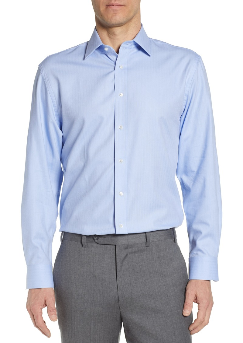 Nordstrom Men's Shop Tech-Smart Traditional Fit Stretch Herringbone Dress Shirt