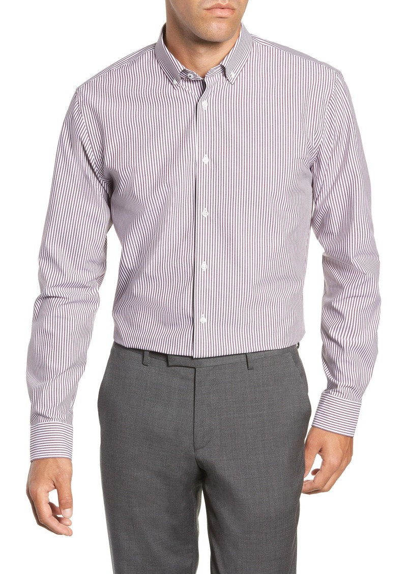 Nordstrom Men's Shop Tech-Smart Trim Fit Stretch Stripe Dress Shirt