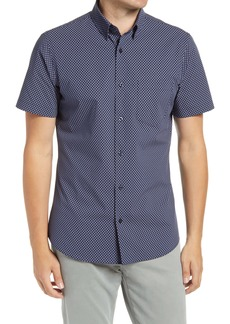 Nordstrom Men's Shop Trim Fit Arrow Print Short Sleeve Button-Up Shirt
