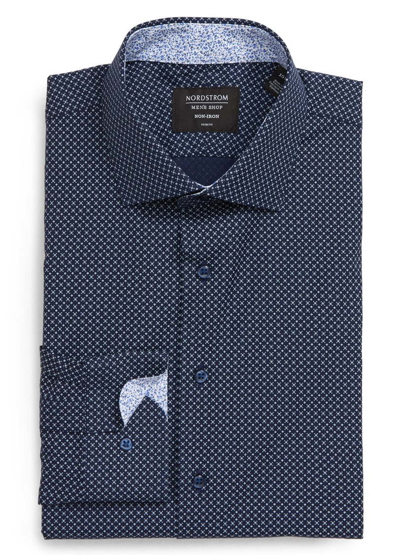 Nordstrom Men's Shop Trim Fit Non-Iron Geometric Dress Shirt