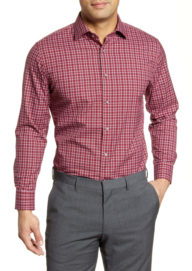 Nordstrom Men's Shop Trim Fit Non-Iron Plaid Dress Shirt