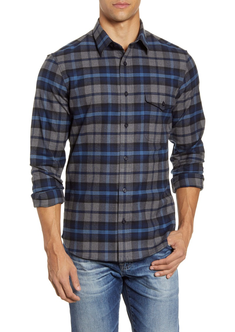 Nordstrom Men's Shop Trim Fit Plaid Flannel Button-Up Shirt