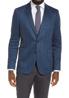 Nordstrom Men's Shop Trim Fit Plaid Stretch Knit Sport Coat