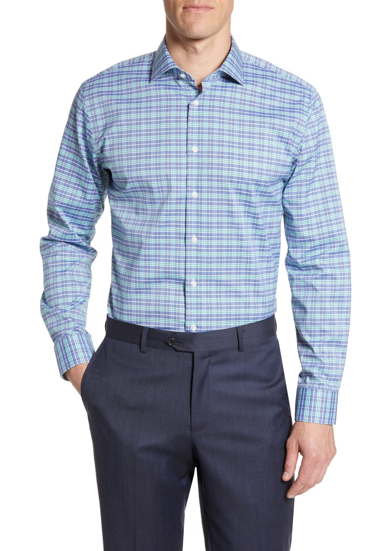 Nordstrom Men's Shop Trim Fit Stretch Non-Iron Plaid Dress Shirt